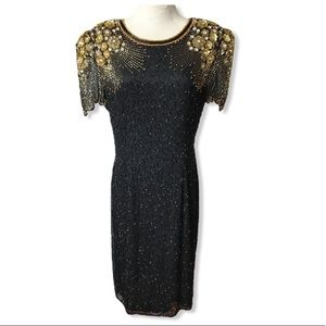 VTG Lillie Rubin Black Gold Beaded Sequins Dress